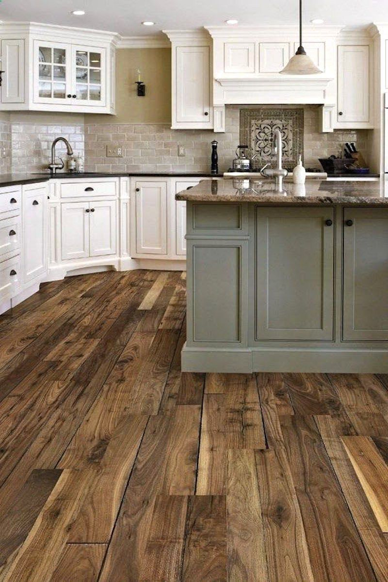 rustic wood flooring that floor!! pinterest pinners picked this kitchen as their favorite.  pinners all IKXPMMT
