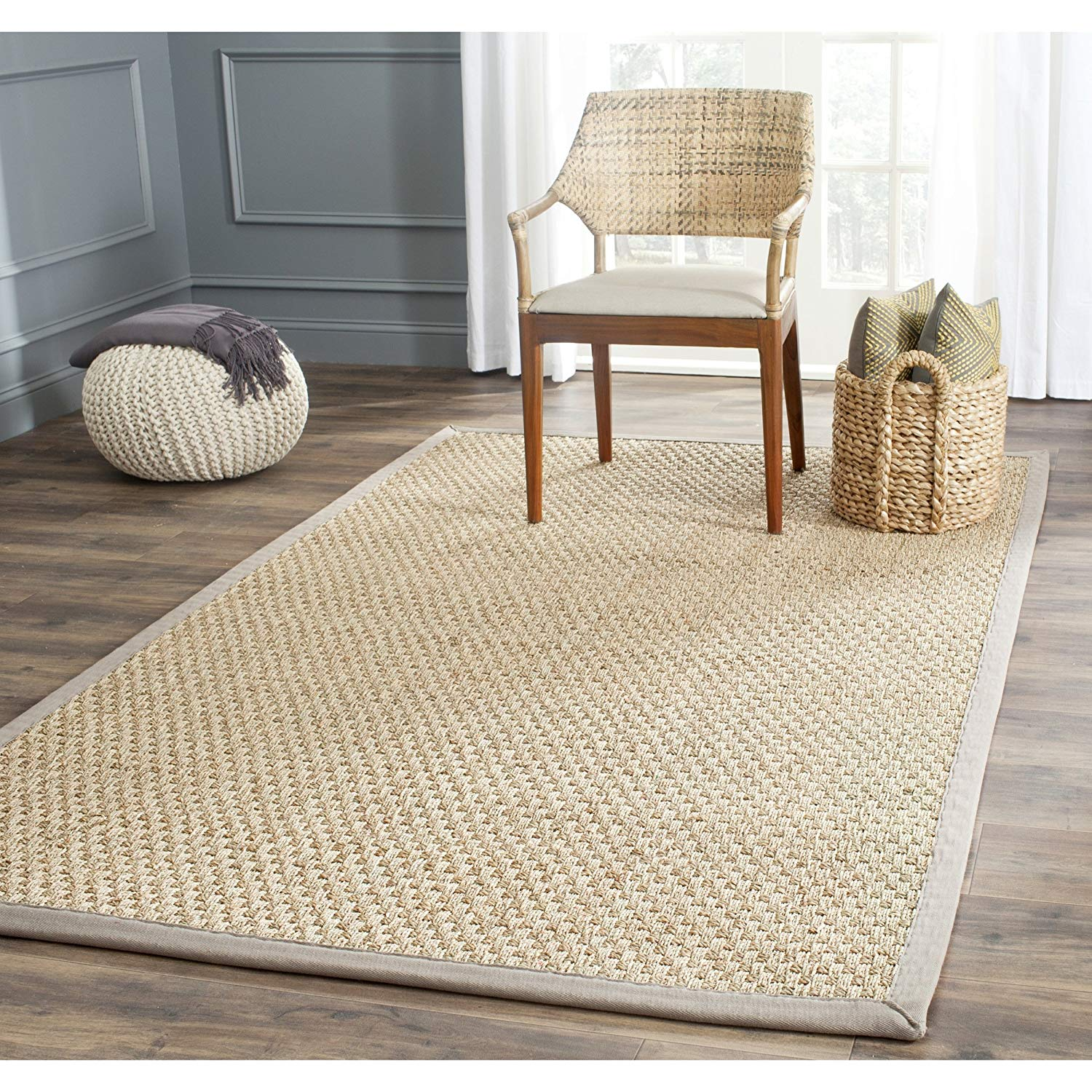 seagrass rugs amazon.com: safavieh natural fiber collection nf114p basketweave natural  and grey summer seagrass VDQBODY