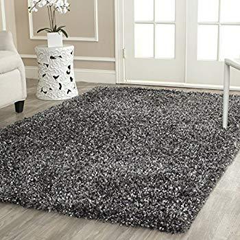 shag area rug safavieh malibu shag collection mls431c handmade charcoal polyester area rug  (5u0027 x LJXLHZQ