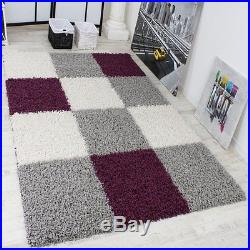shaggy rug pattern modern shaggy carpet large long pile mat chequered pattern in purple white QBXXTDO