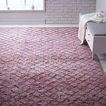 shaggy rug pattern pink trellis wool shag rug TRIDOVR