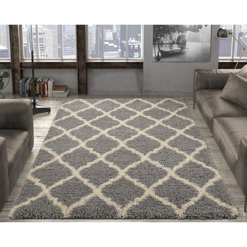 shaggy rugs ottomanson ultimate shaggy contemporary moroccan trellis design grey 5 ft.  x 7 ESENZGH