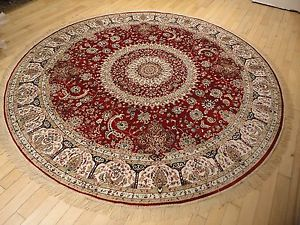 silk rugs image is loading large-persian-silk-rugs-8-039-round-rugs- OZQYSPM