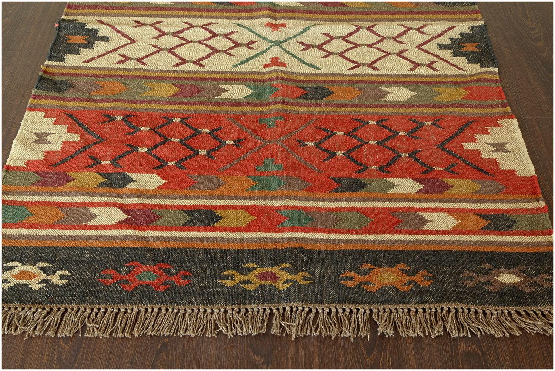 southwestern flat weave multi wool jute handmade rug 13572 DFJVPLD
