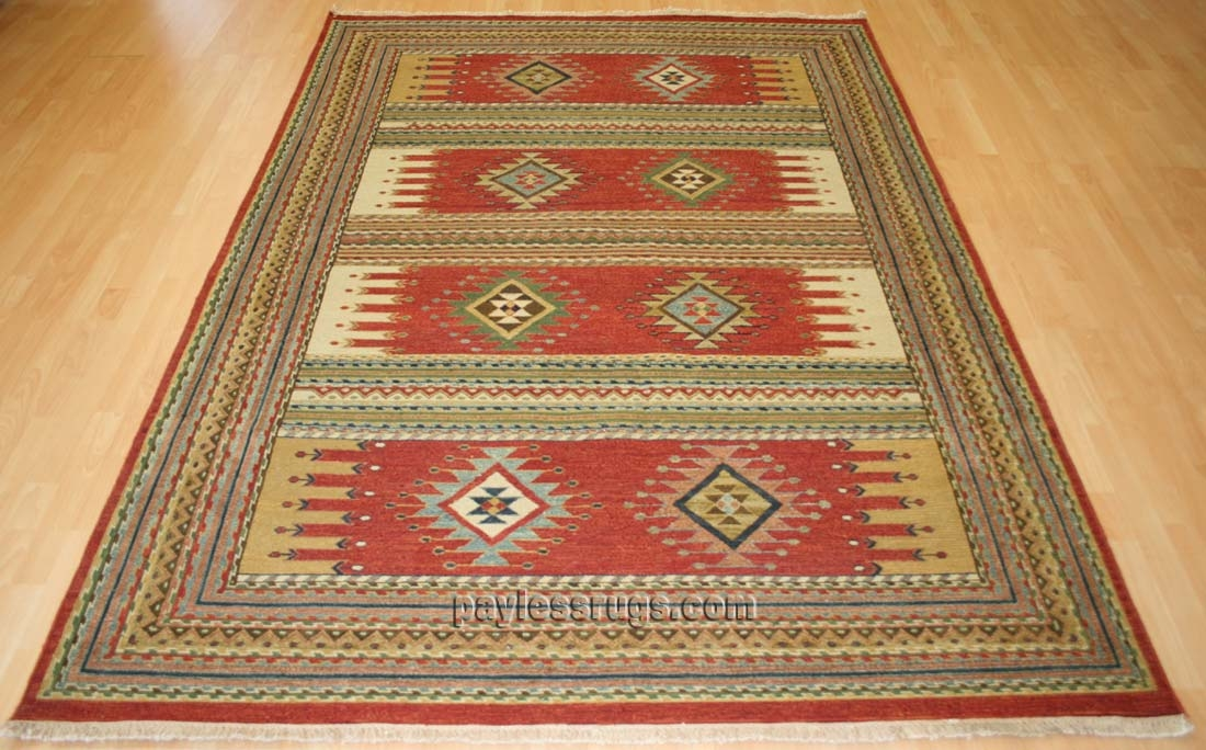 southwestern rugs hacienda hac-51 rust flat weave hand knotted 100% wool rugs on sale AJITGLY