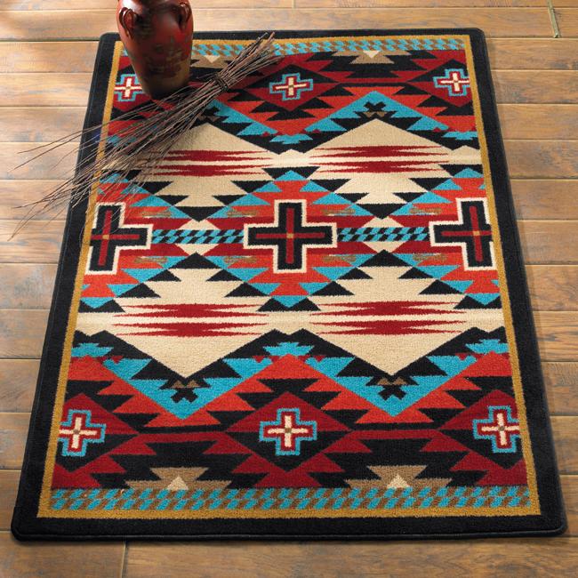 western rugs southwest rugs: 4 x 5 rustic cross blue southwestern rug|lone star western NUBKVYQ