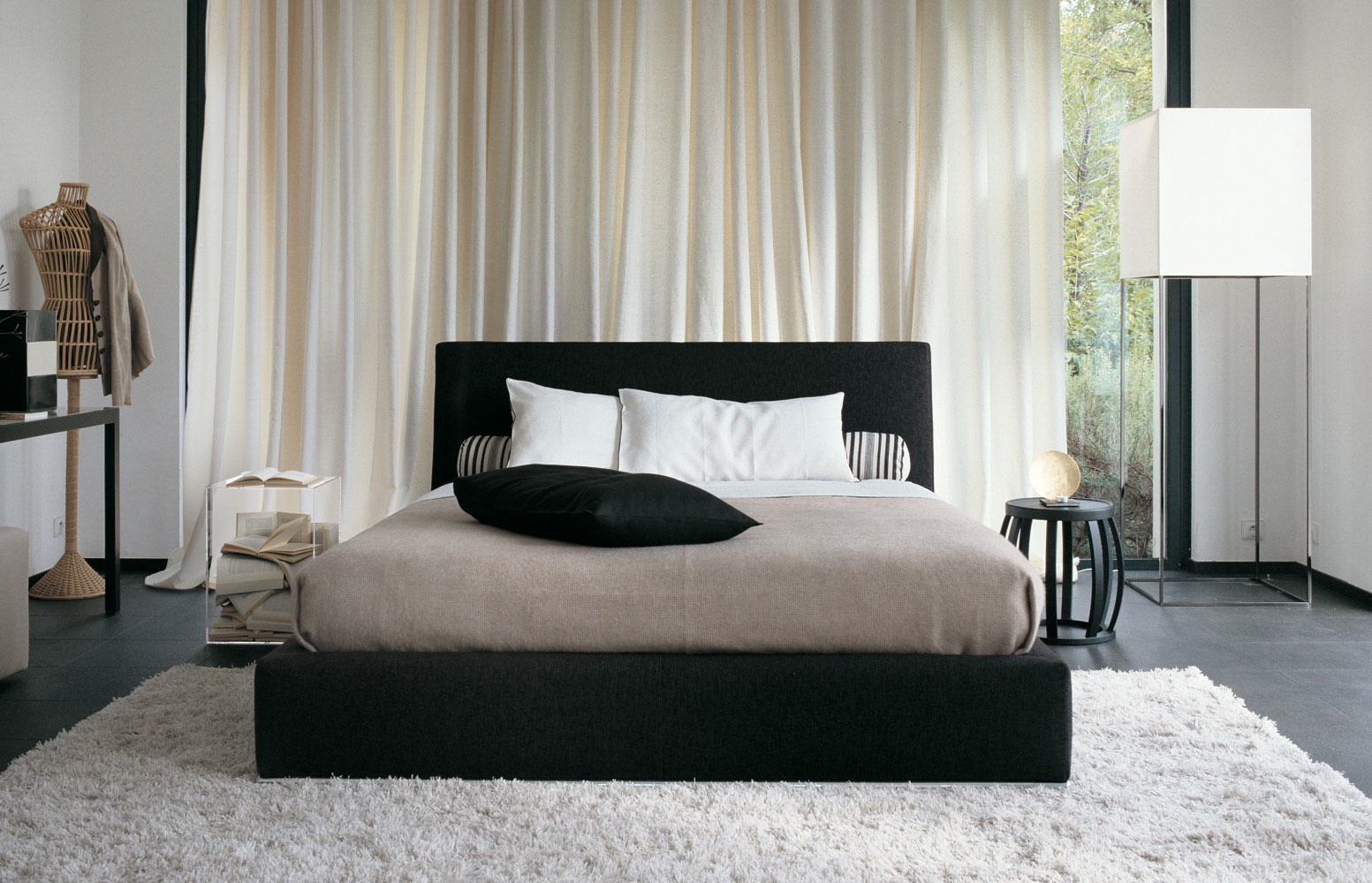 white area rug bedroom elegant bedroom with black cushioned bed on white shag area rug also corner IOJBEGZ