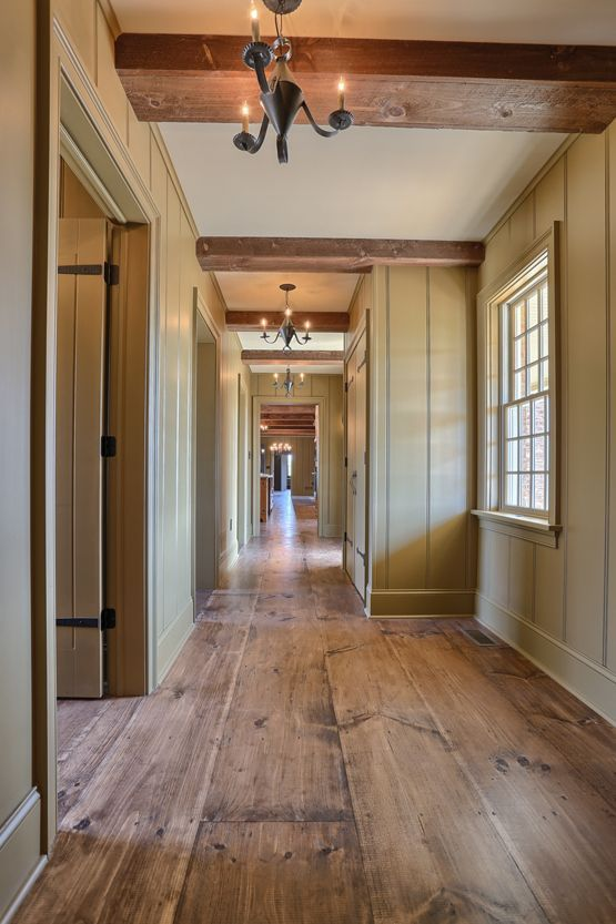 wide plank hardwood flooring wide plank wood flooring | interior hallway | classic colonial homes  architecture JDBZDCC