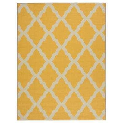 Yellow area rug glamour collection contemporary moroccan trellis design yellow ... QKCAGEA