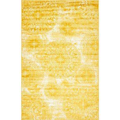 Yellow area rug sofia ... EXJQONH