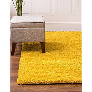 yellow rug yellow shag rug, 4-feet by 6-feet, 4x6 solid u0026 thick RCQWRDB