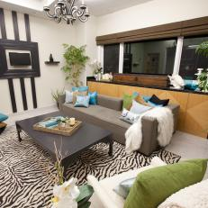 zebra print rug in living room eclectic living room with zebra-print rug RIZCQWW