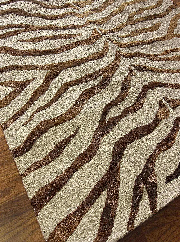 zebra print rugs amazon.com: nuloom safari contemporary zebra print with faux silk  highlights, wool area YYQVFIL