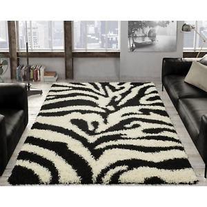 zebra print rugs ottomanson soft shag black and white zebra print area rug - 5u0027 x AWSGJVY