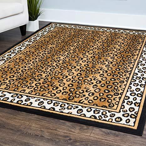 zone ebony leopard rug rug size: 3u00277 ... HABXYMF
