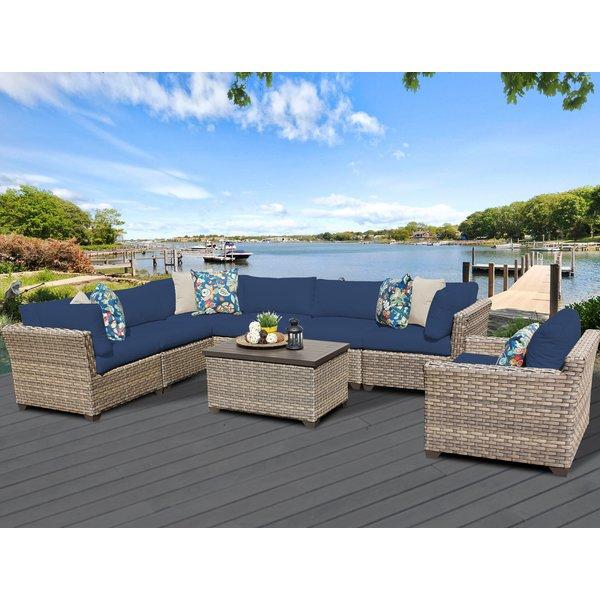 TK Classics Monterey 8 Piece Sectional Seating Group with Cushions