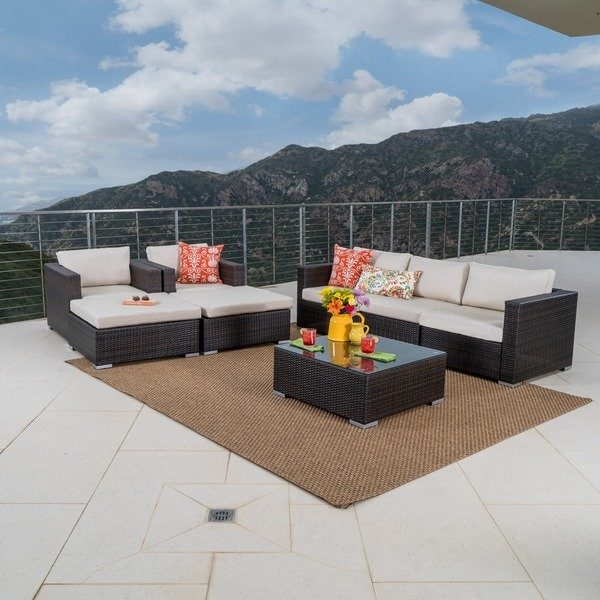 Shop Santa Rosa Outdoor 8-piece Wicker Sectional Sofa Set with