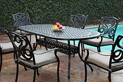 Amazon.com : CBM Outdoor Cast Aluminum Patio Furniture 7 Pc Dining