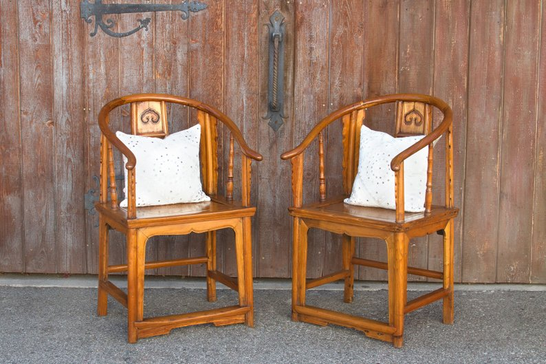 Pair of Asian Horseshoe Armchairs Asian Antique Chairs   Etsy