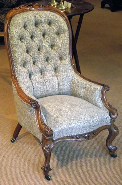 Antique rosewood armchair / Georgian button back chair : Antique