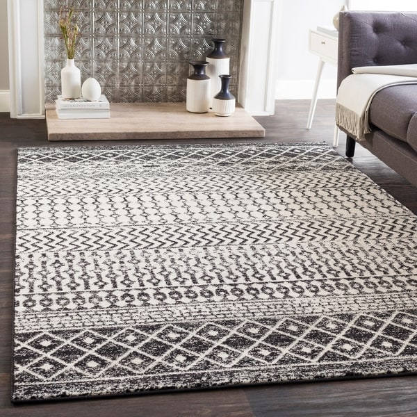 Shop Edie Black & White Bohemian Area Rug - 7'10