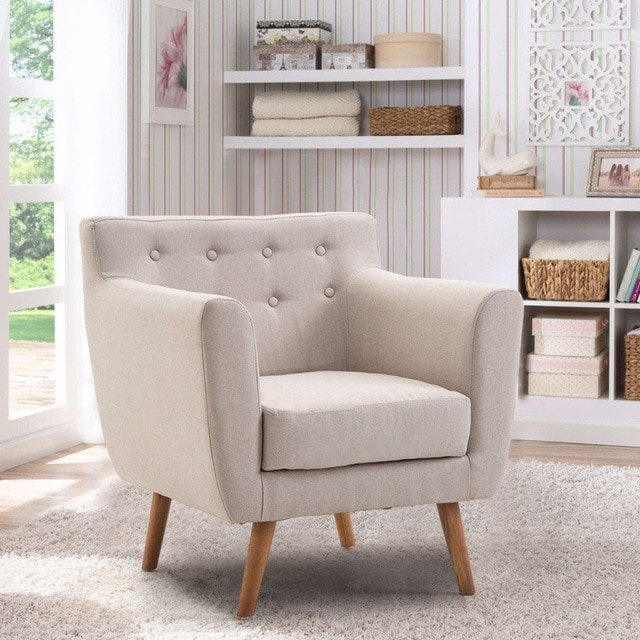 Giantex Living Room Arm Chair Tufted Back Fabric Upholstered Accent