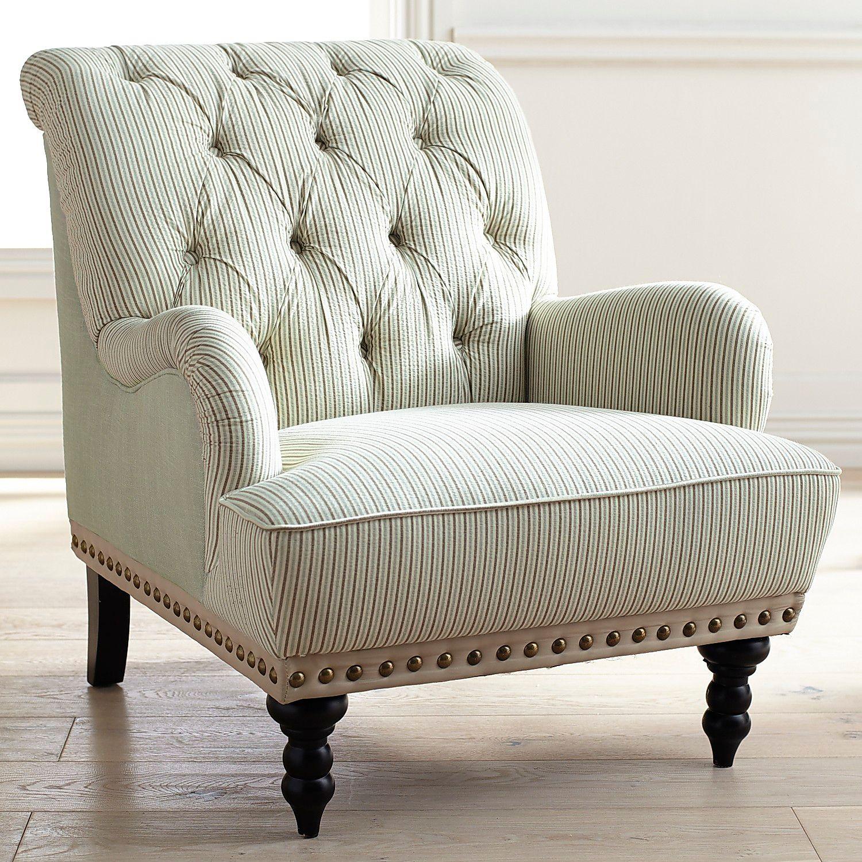 Chas Gray Blue & White Seersucker Armchair | Pier 1