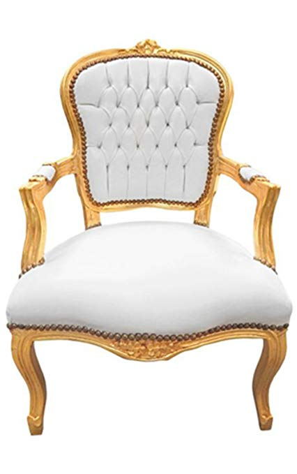 Amazon.com: Luxe Furniture Baroque Armchair - White Leather on Gold