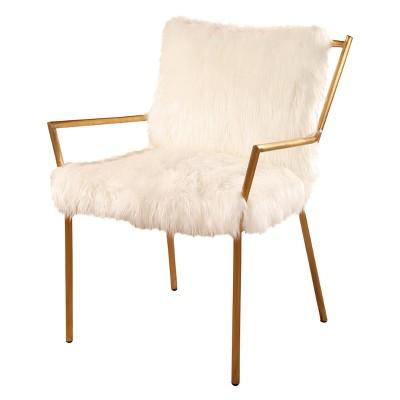 Bonnie Stainless Steel Faux Fur Armchair - White - Abbyson : Target
