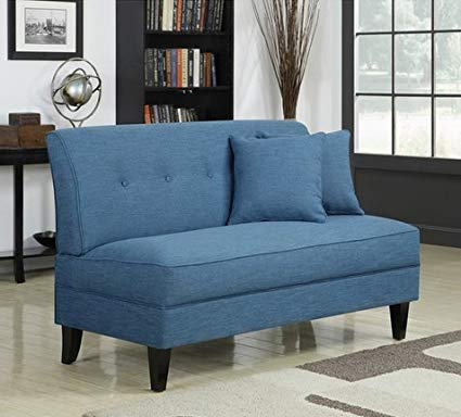 Amazon.com: Portfolio Engle Caribbean Blue Linen Armless Loveseat