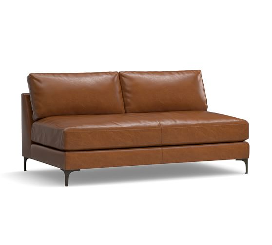 Jake Leather Armless Loveseat | Pottery Barn