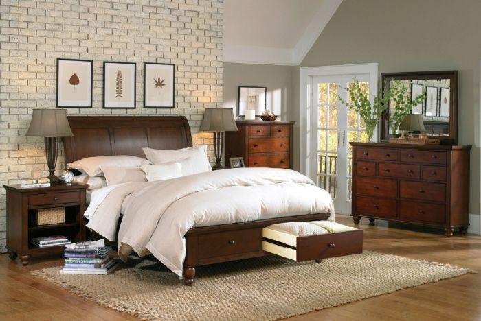 aspenhome Cambridge 5 Piece Sleigh Storage Bedroom Set in Cherry