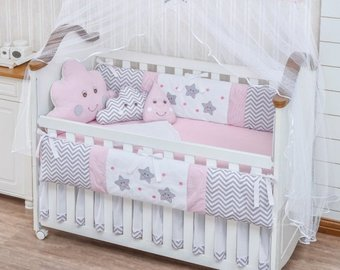 Crib bedding sets for girls | Etsy