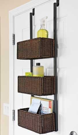 Behind the door bathroom storage baskets | Baby Steaple's Corner in