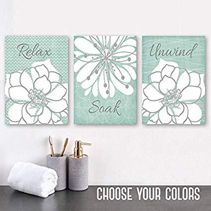 Amazon.com: Seafoam Bathroom Wall Art Canvas or Prints Relax Soak
