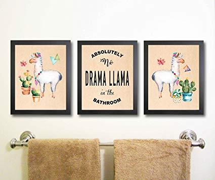 Amazon.com: Silly Goose Gifts Llama Themed Bathroom Wall Art Print