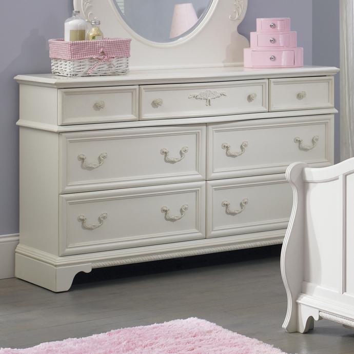 Arielle Youth Bedroom 7 Drawer Dresser with Felt Lined Top Drawers