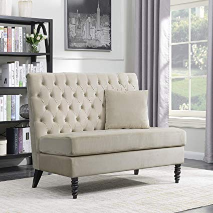 Amazon.com: Belleze Beige Velvet Modern Loveseat Bench Sofa Tufted