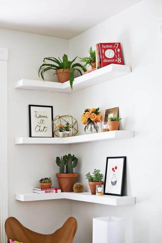 25 Dreamlike Corner Wall Shelves for Bedroom