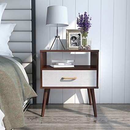 Amazon.com: Lifewit Nightstand with 1 Fabric Drawer, Bedside Table