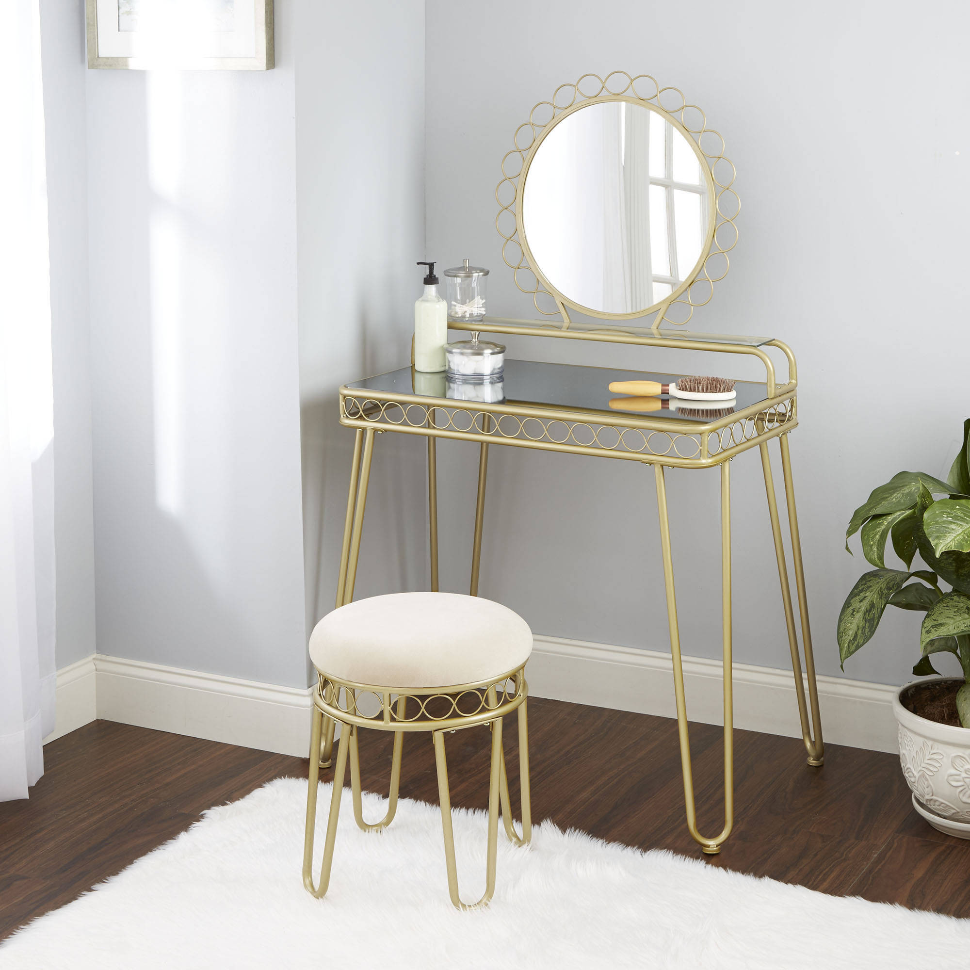 Better Homes and Gardens Mirabella Bedroom Vanity & Stool - Walmart.com
