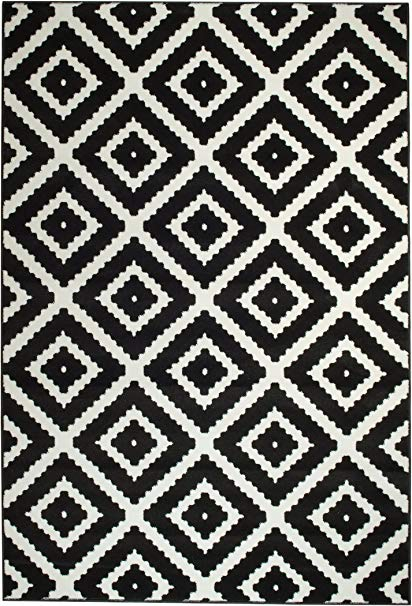 Amazon.com: Summit JM-GAW0-FK75 46 Black White Diamond Area Rug