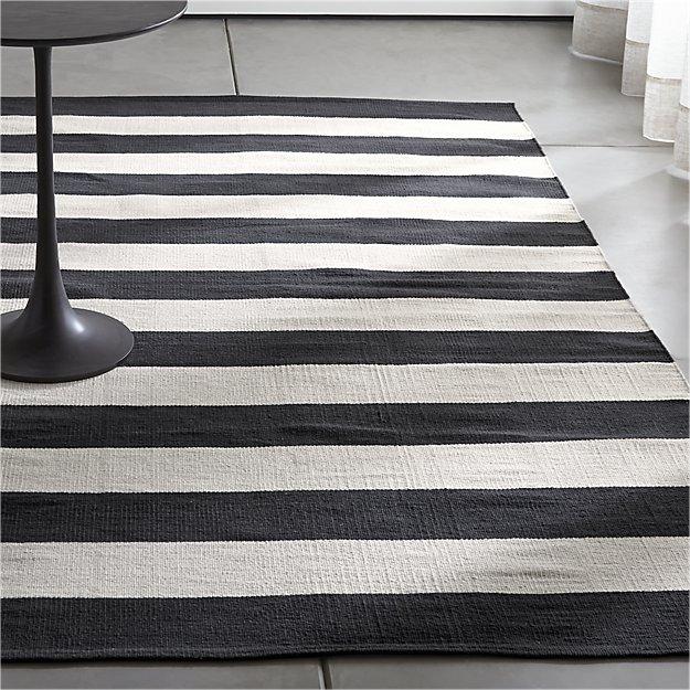 Olin Black Striped Cotton Dhurrie Rug | sharon | Pinterest | Striped