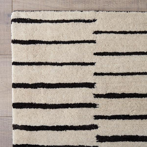 Black and White Striped Hand Tufted Rug