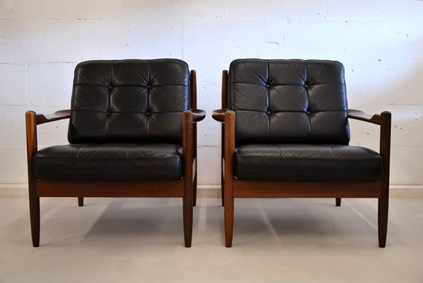 Mid-Century Scandinavian Wood & Black Leather Armchairs for sale at