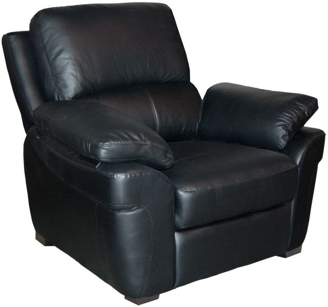 Furniture Link Monzano Leather Fixed Armchair Black - Leather