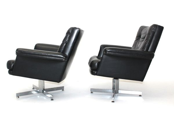 Black Leather Armchairs by H. W. Klein, Set of 2 for sale at Pamono