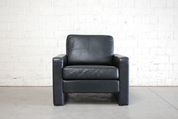 Vintage Conseta Black Leather Armchairs from Cor, Set of 2 for sale
