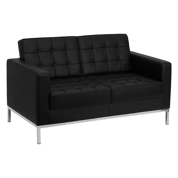 Shop Offex Hercules Lacey Series Contemporary Black Leather Loveseat