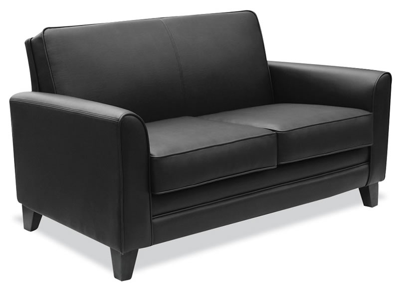 Maggie Series Black Leather Soft Vinyl Loveseat for Office
